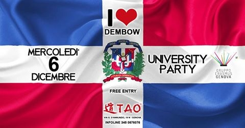 Wednesday University Party at TAO - I Love Dembow eventi Genova eventi GE