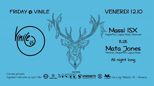 Friday at Vinile | Massi ISX b2b Mata Jones eventi Brescia eventi BS