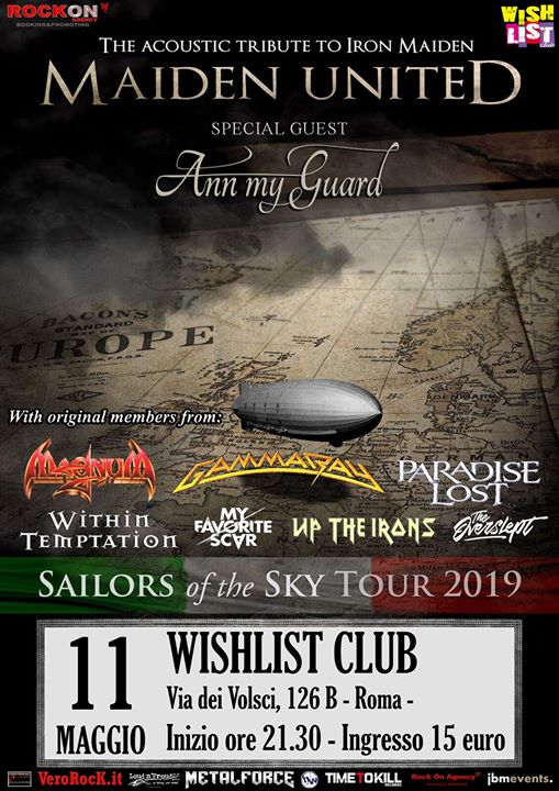 Maiden United - Sailors of the Sky tour at Wishlist Club eventi Roma eventi RM